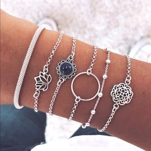 Jewelry - 2/$20 New Boho Circle & Lotus Bracelet Set 5pcs
